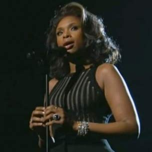Jennifer Hudson Tributes Whitney Houston At The 2012 Grammy Awards
