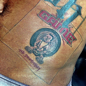 """Game Gets Tattoos Of Dr. Dre's """"The Chronic"""" Album & """"The Documentary"""" DVD Covers"""