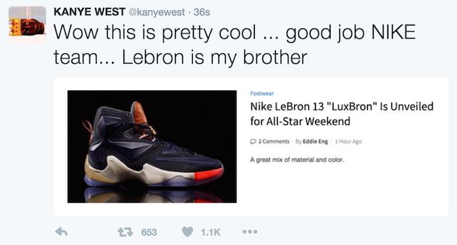 Kanye West LeBron Tweet 2016 020916 4