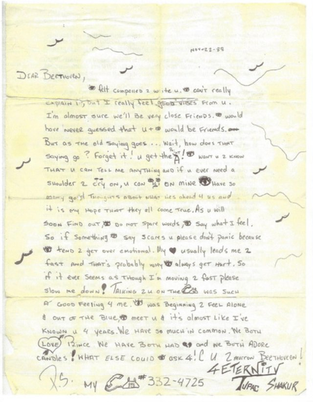 Tupac Love Letter From High School Up For Sale