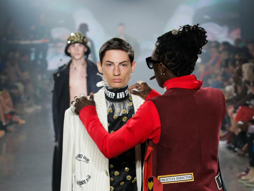 Young Thug Flexes Fashion Muscle & Adjusts Model's Outfit Mid-Runway