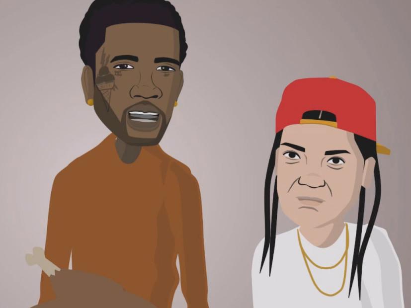 Cartoon Gucci Mane Hosts Thanksgiving Dinner Hiphopdx