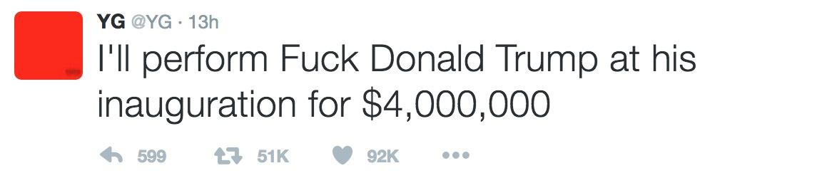 YG Donald Trump tweet