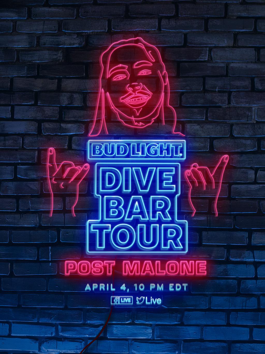 post malone bud light bar tour poster