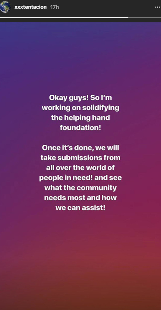 xxxtentacion helping hand charity