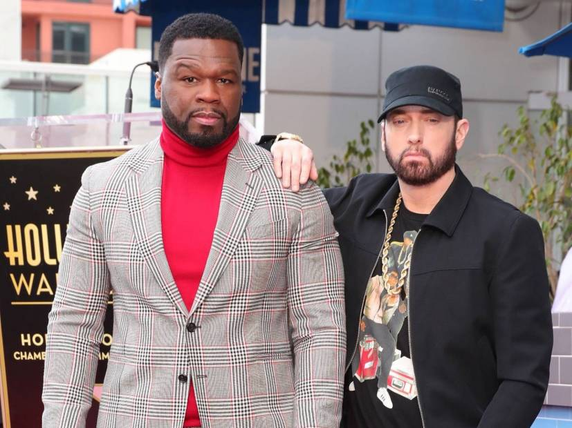 Eminem Makes Rare Public Appearance To Honor 50 Cent In The Walk Of Fame Ceremony