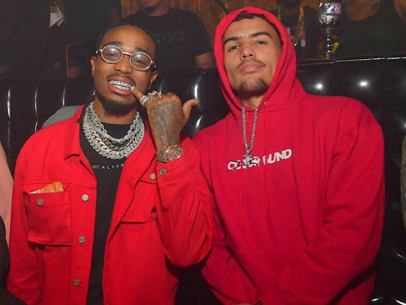 Trae Young Gifts Quavo With Jersey After Dropping Career-High 50 Points
