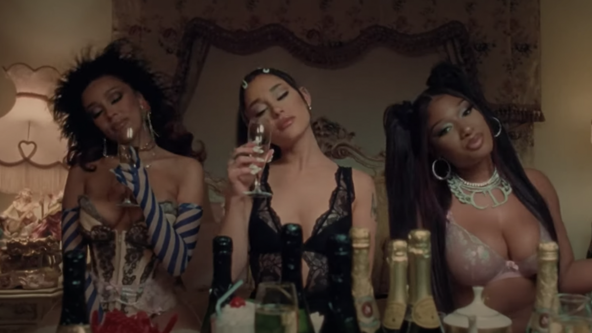 Megan Thee Stallion & Doja Cat Join Ariana Grande For a Sexy Hotel Sleepover In '34 + 35' Remix Video