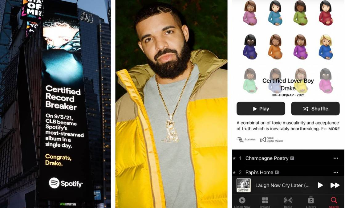 Drake Breaks Apple Music + Spotify Streaming Records With 'Certified Lover Boy'